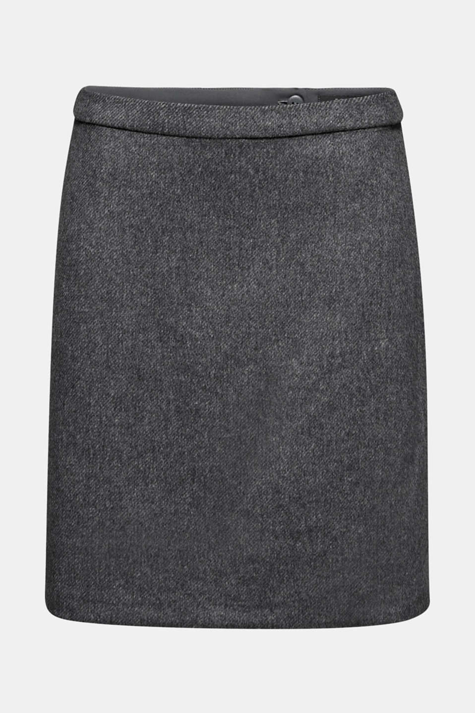 With wool: skirt in a melange finish, DARK GREY, detail image number 5