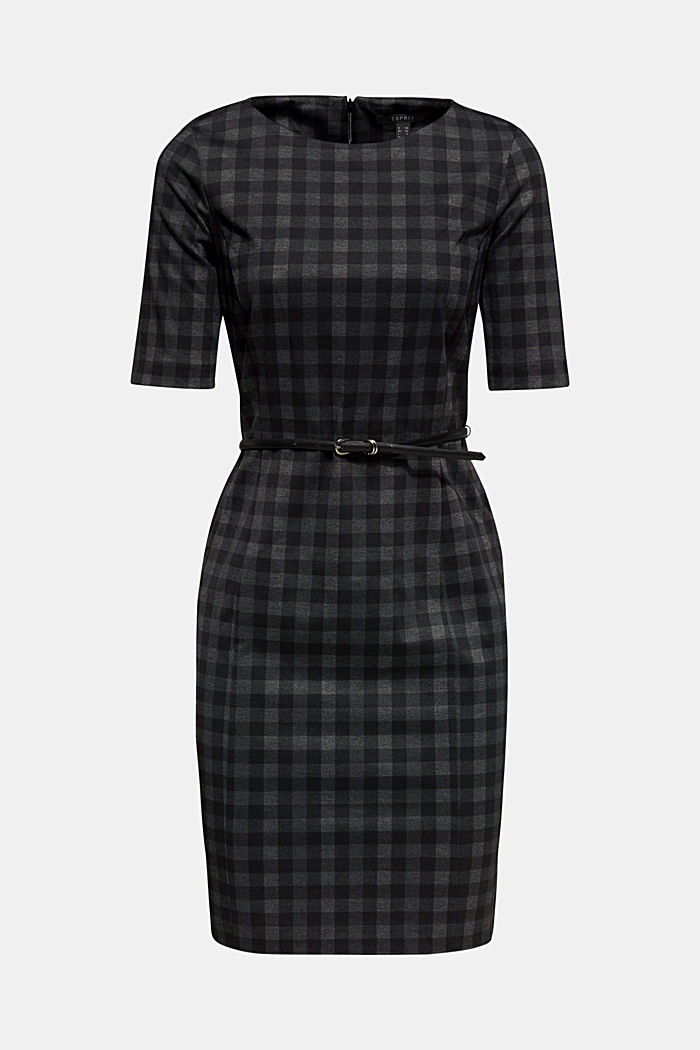 Sheath dress made of jersey with a belt, BLACK, detail image number 0