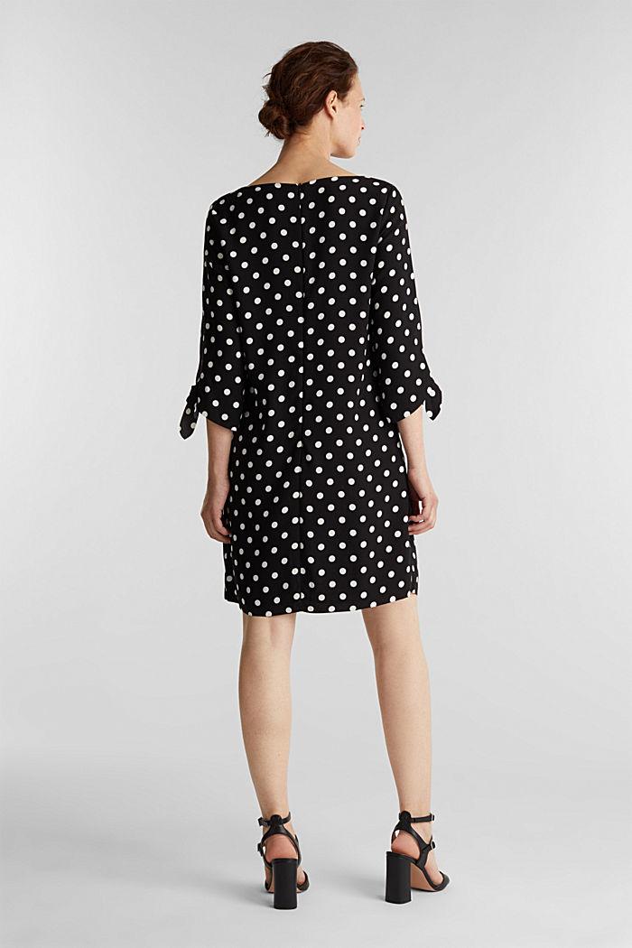 Crêpe-Kleid mit Lasercut-Details, BLACK, detail image number 2