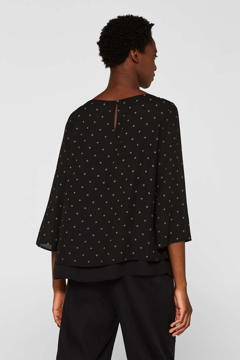 Crêpe blouse in a layered look, BLACK, detail image number 3