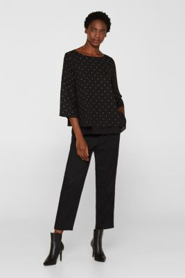 Crêpe blouse in a layered look, BLACK, detail