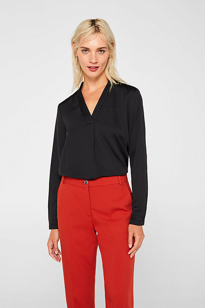V-neck blouse with pleated trim, BLACK, detail image number 0