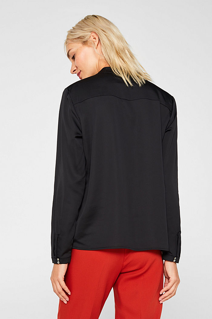 V-neck blouse with pleated trim, BLACK, detail image number 3