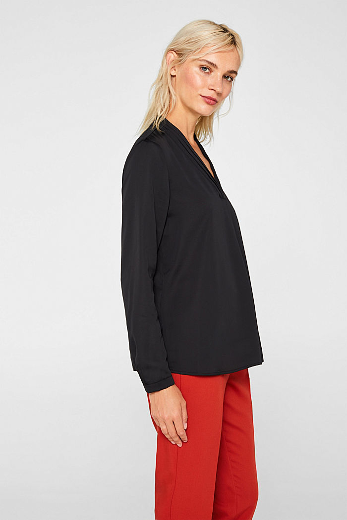 V-neck blouse with pleated trim, BLACK, detail image number 5