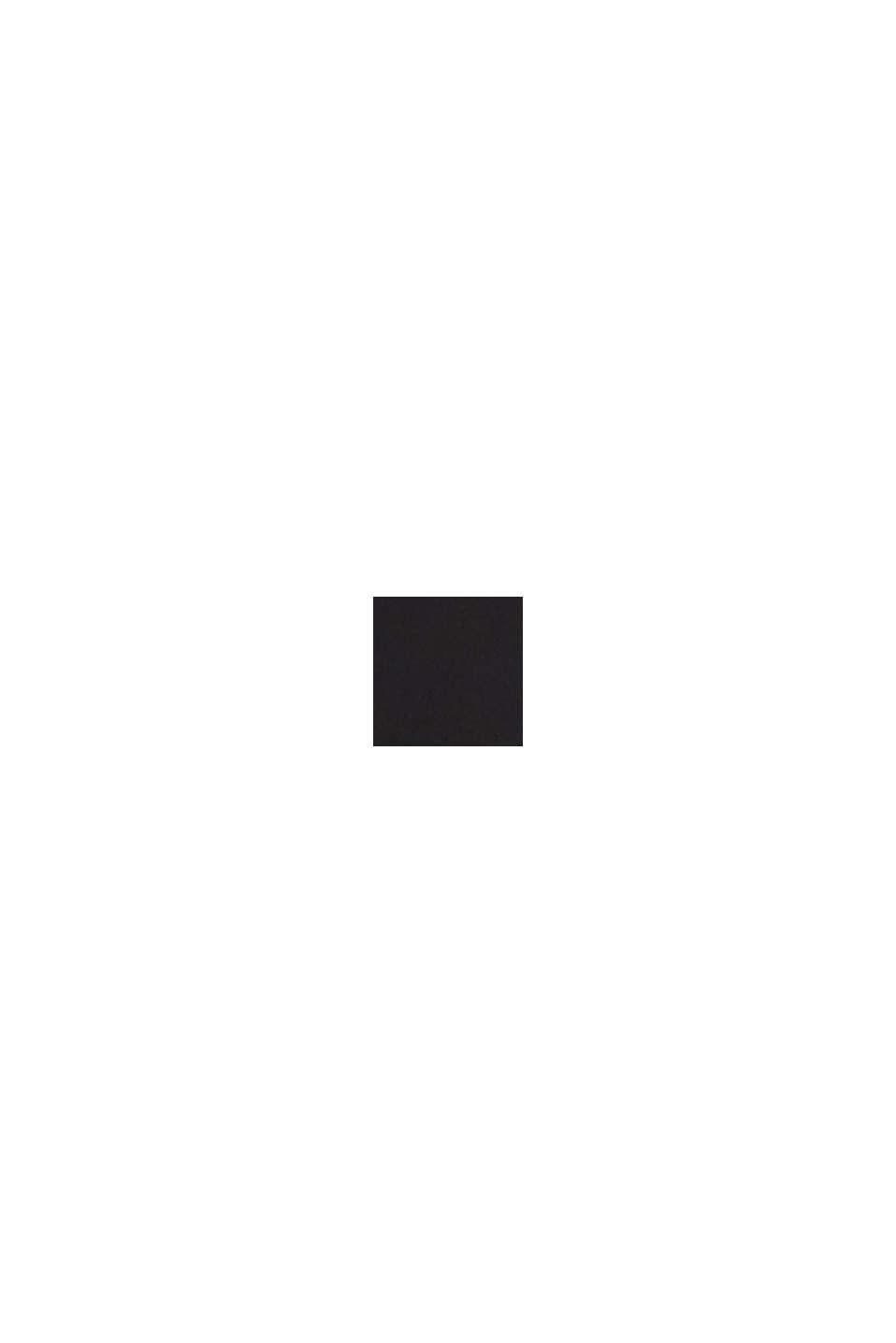 Blouse met V-hals en geplooide rand, BLACK, swatch