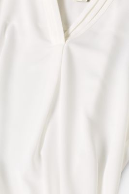 V-neck blouse with pleated trim, OFF WHITE, detail