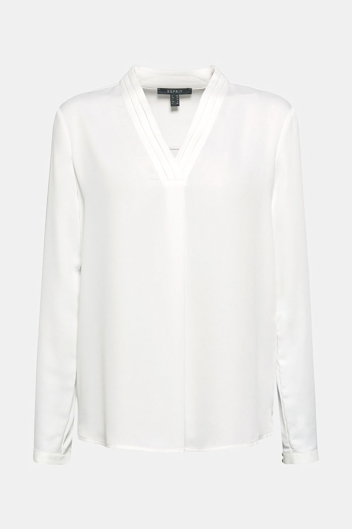 V-neck blouse with pleated trim, OFF WHITE, detail image number 0
