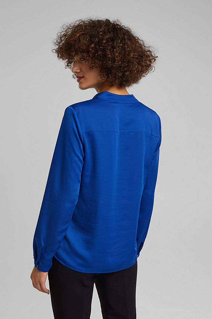 V-neck blouse with pleated trim, BRIGHT BLUE, detail image number 3