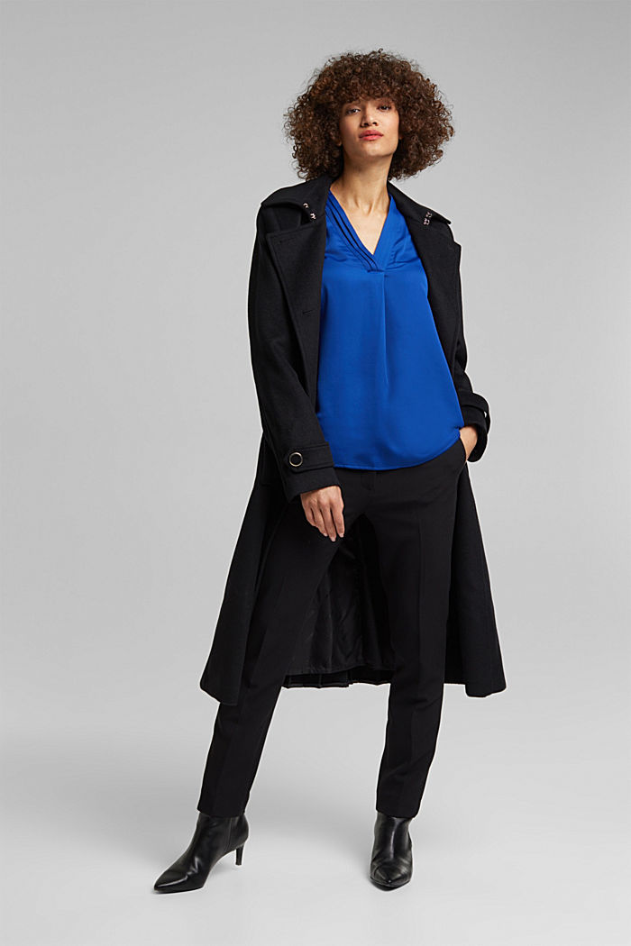 V-neck blouse with pleated trim, BRIGHT BLUE, detail image number 1