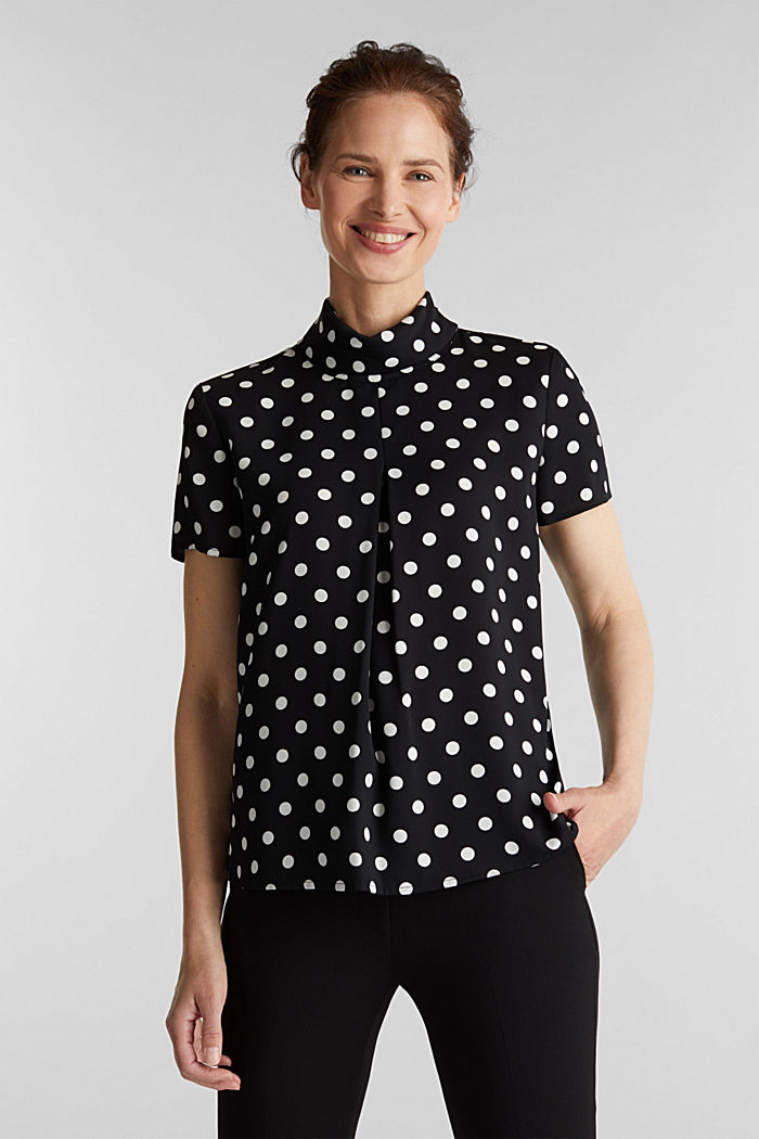 Printed blouse with a polo neck, recycled, BLACK, detail image number 0