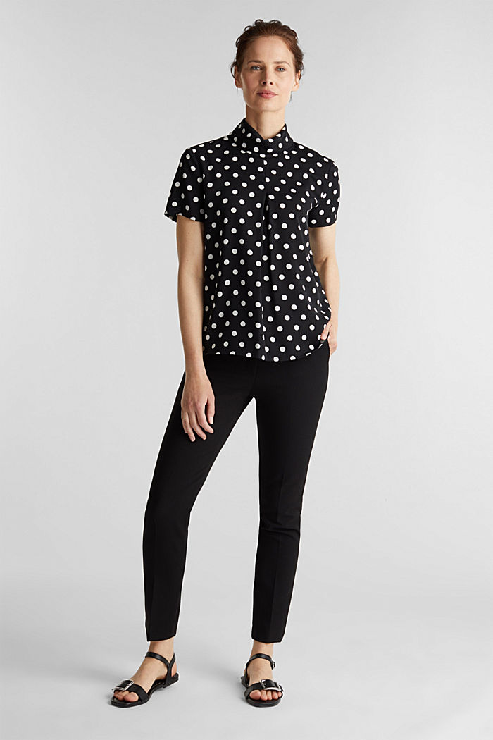 Printed blouse with a polo neck, recycled, BLACK, detail image number 1