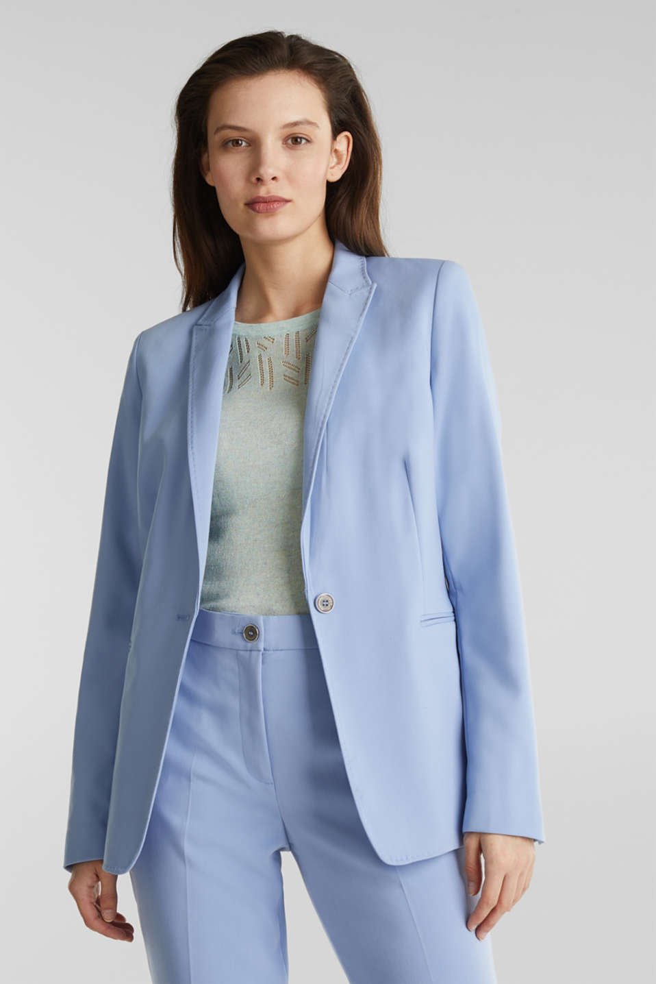 SPRING TWILL Mix + Match stretch blazer, LIGHT BLUE, detail image number 0