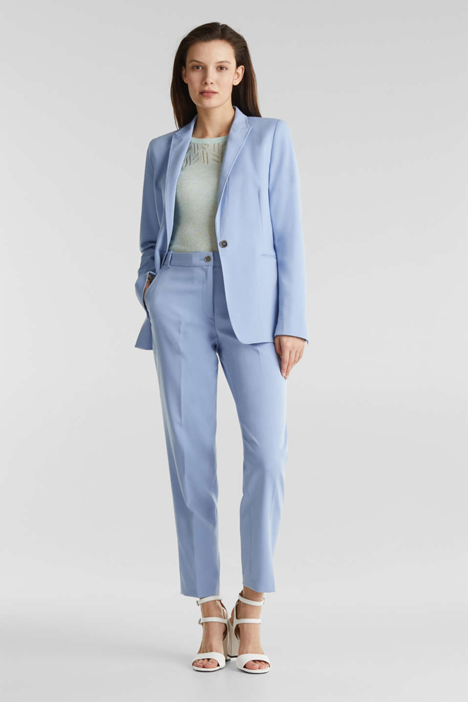 SPRING TWILL Mix + Match stretch blazer, LIGHT BLUE, detail image number 1