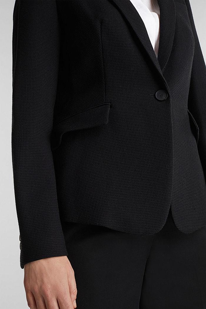 Taillierter Piqué-Stretch-Blazer, BLACK, detail image number 0
