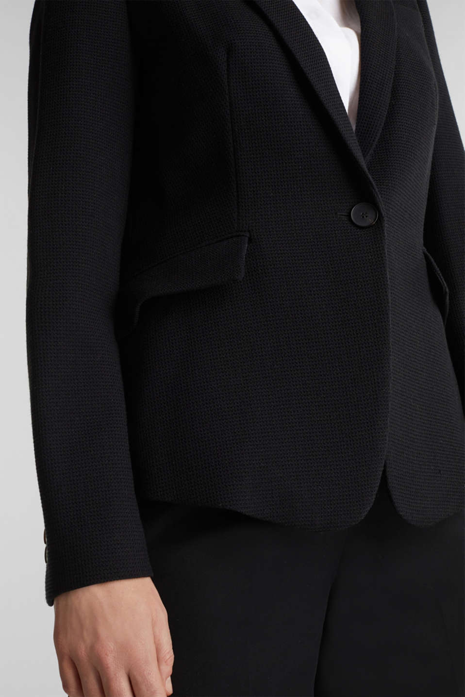 Fitted stretch piqué blazer, BLACK, detail image number 1