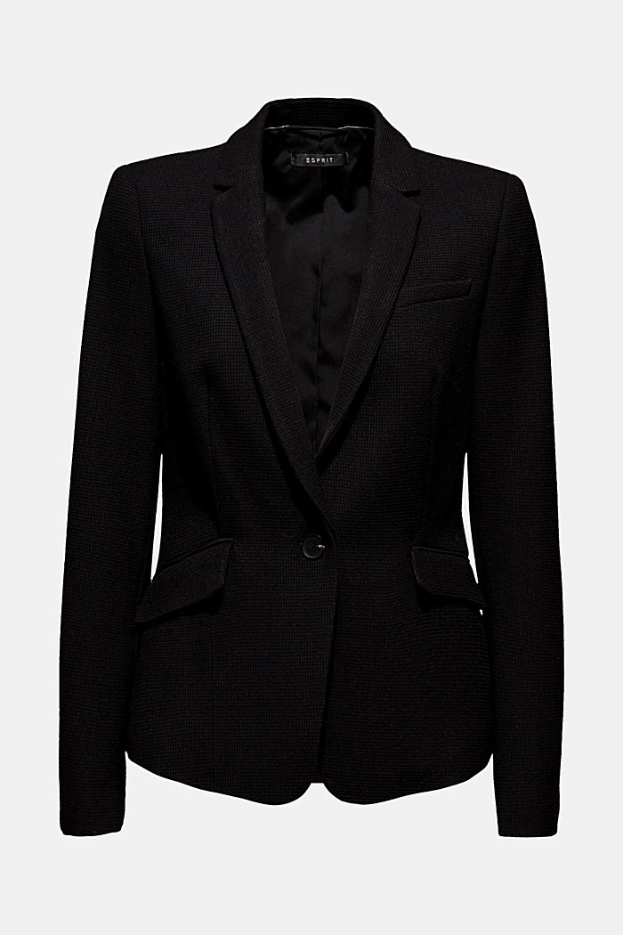 Fitted stretch piqué blazer