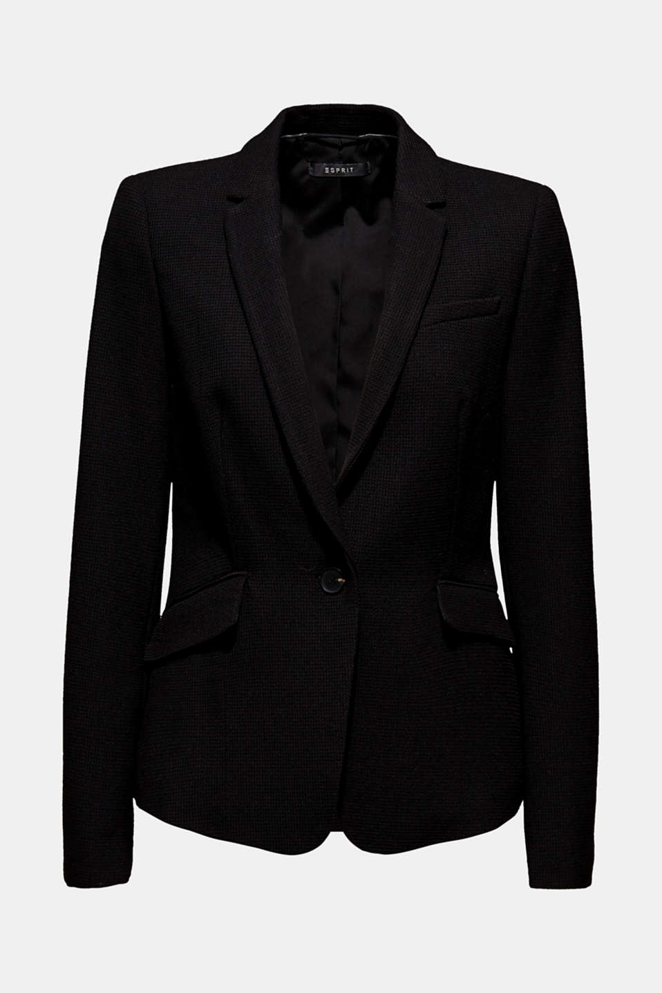 Fitted stretch piqué blazer, BLACK, detail image number 6