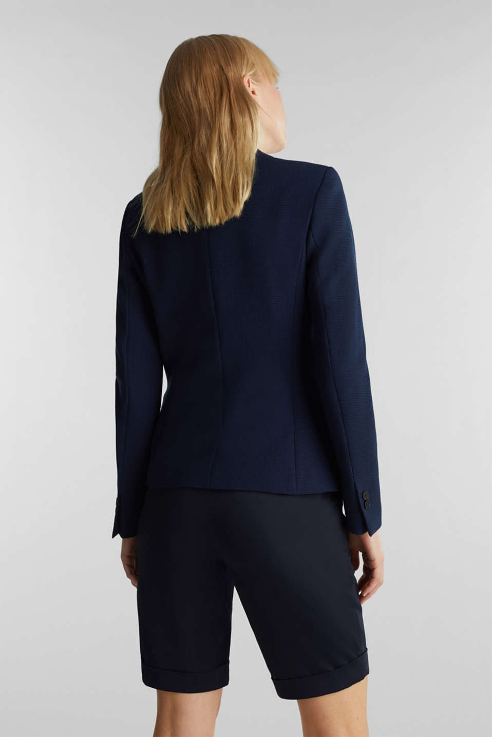 Fitted stretch piqué blazer, NAVY, detail image number 2