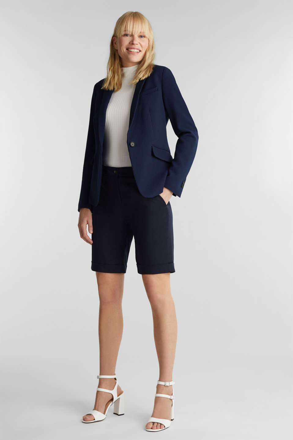 Fitted stretch piqué blazer, NAVY, detail image number 0