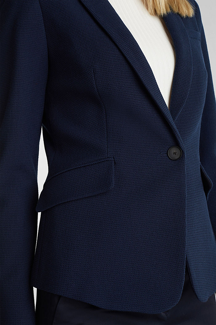 Fitted stretch piqué blazer, NAVY, detail image number 1