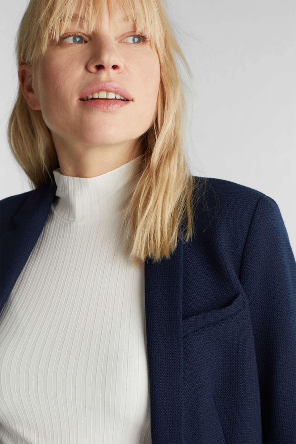 Fitted stretch piqué blazer, NAVY, detail image number 3