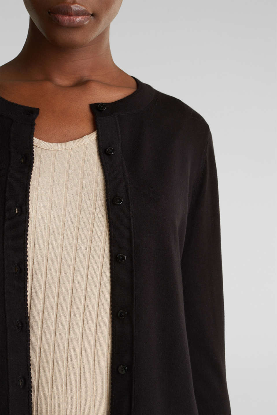 Cardigan containing LENZING™ ECOVERO™, BLACK, detail image number 2
