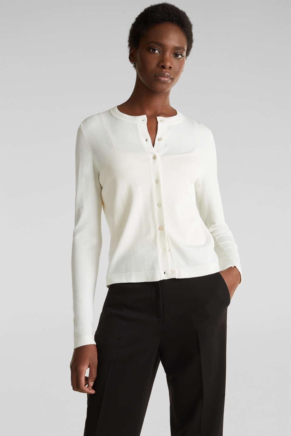 Cardigan containing LENZING™ ECOVERO™, OFF WHITE, detail image number 0