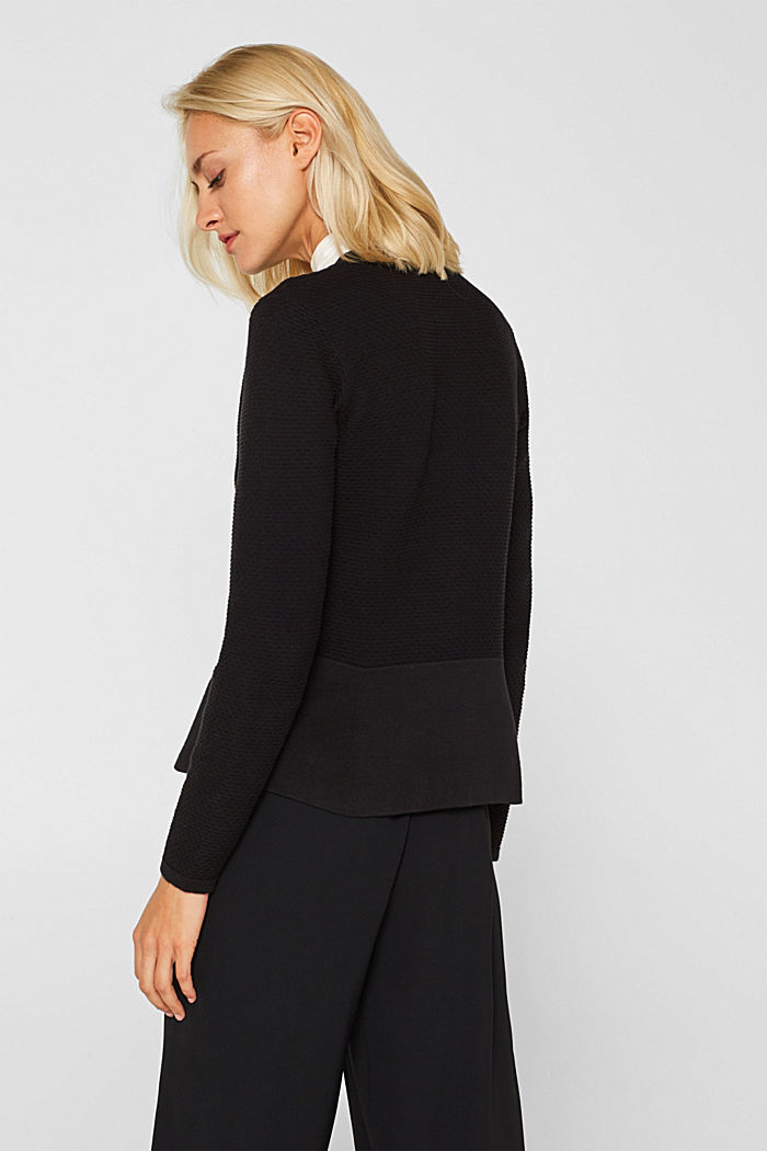 Textured cardigan with a peplum, BLACK, detail image number 3