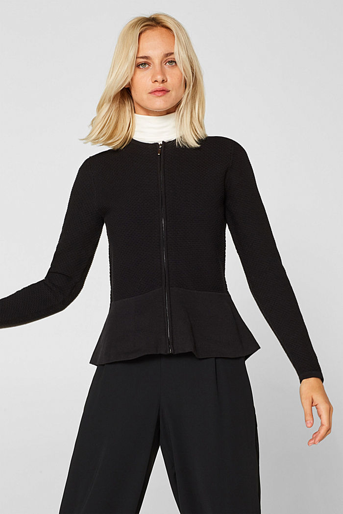Textured cardigan with a peplum, BLACK, detail image number 5
