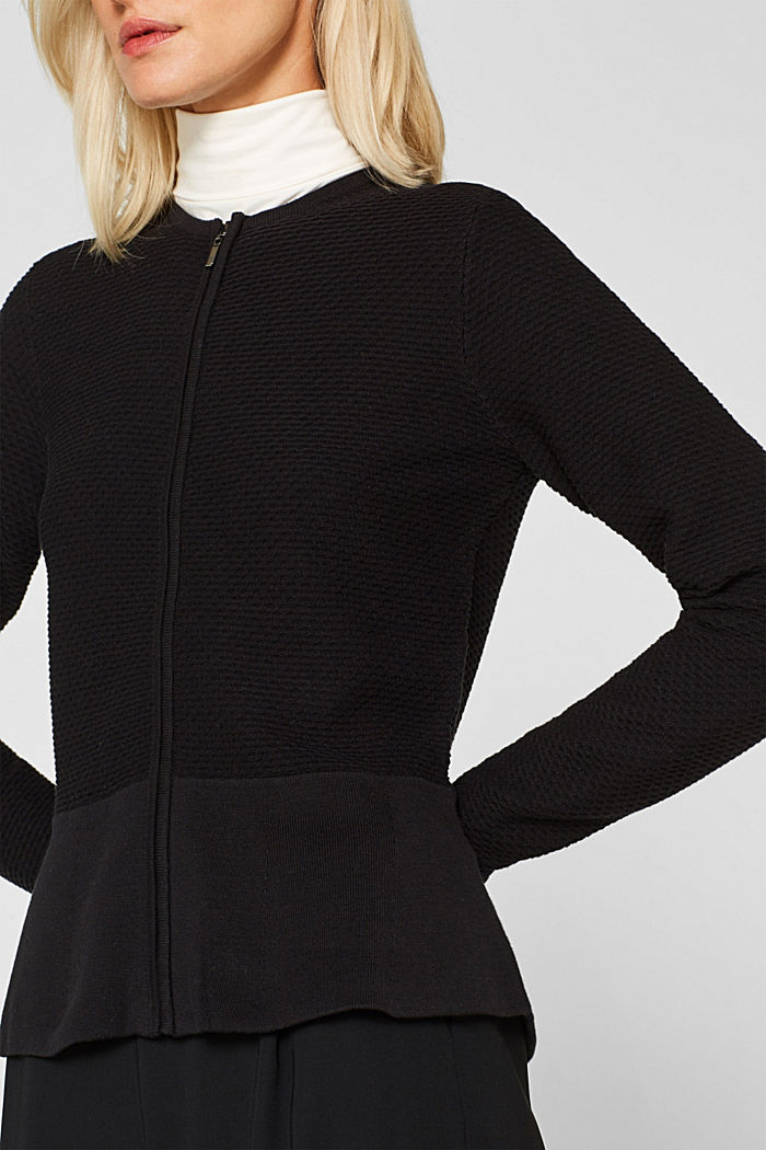 Textured cardigan with a peplum, BLACK, detail image number 2