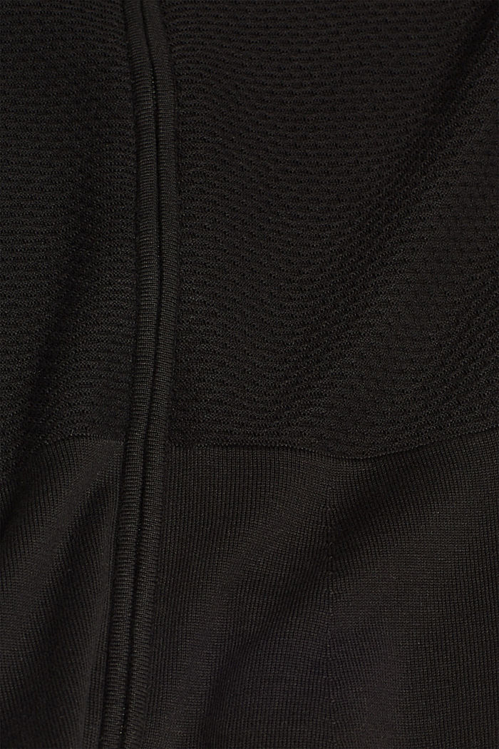 Textured cardigan with a peplum, BLACK, detail image number 4