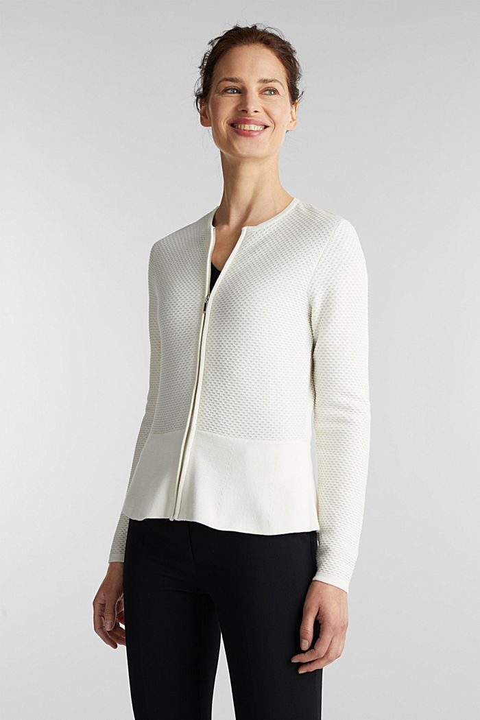 Textured cardigan with a peplum, OFF WHITE, detail image number 0