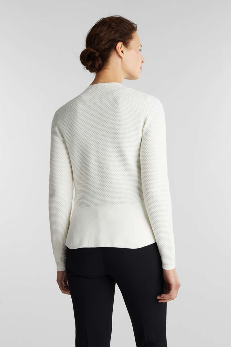 Textured cardigan with a peplum, OFF WHITE, detail image number 3