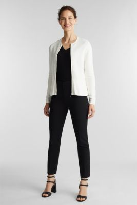Textured cardigan with a peplum, OFF WHITE, detail
