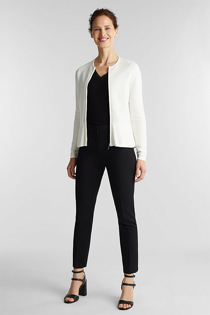 Textured cardigan with a peplum, OFF WHITE, detail image number 1