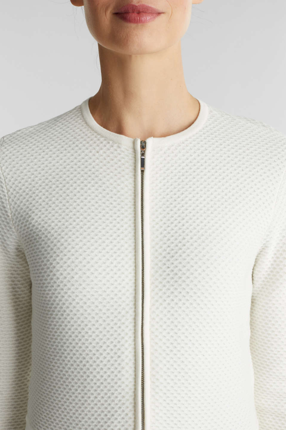 Textured cardigan with a peplum, OFF WHITE, detail image number 2