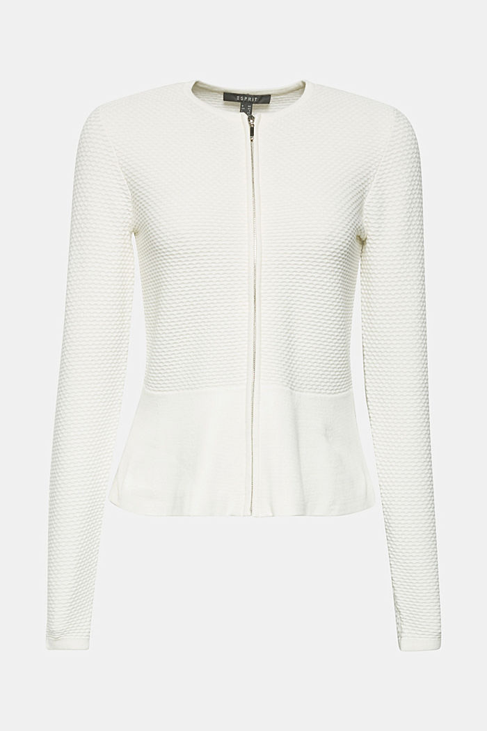 Textured cardigan with a peplum, OFF WHITE, detail image number 5