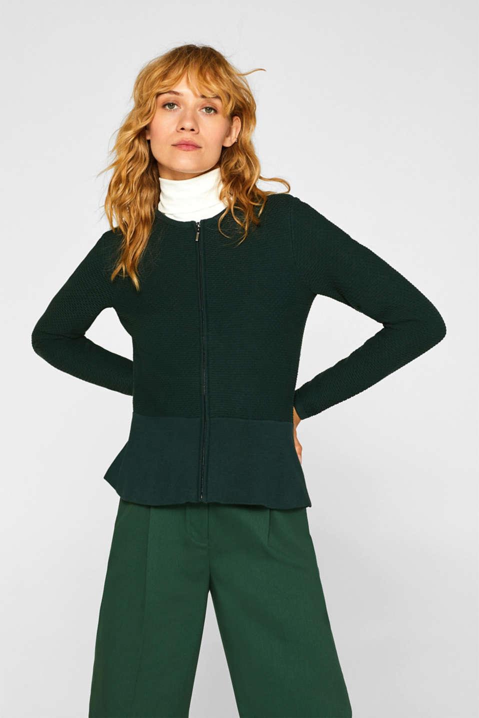Esprit Struktur Cardigan mit Schößchen im Online Shop kaufen