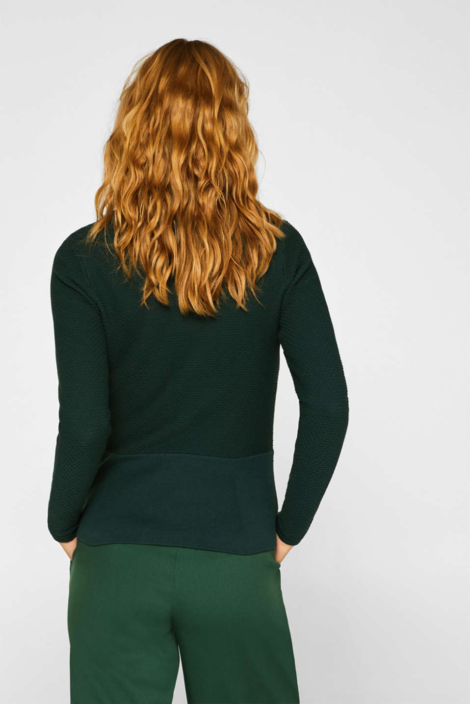 Textured cardigan with a peplum, BOTTLE GREEN, detail image number 3
