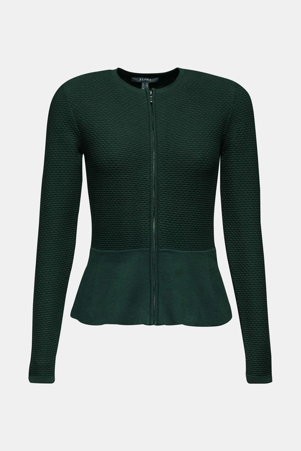Textured cardigan with a peplum, BOTTLE GREEN, detail image number 6