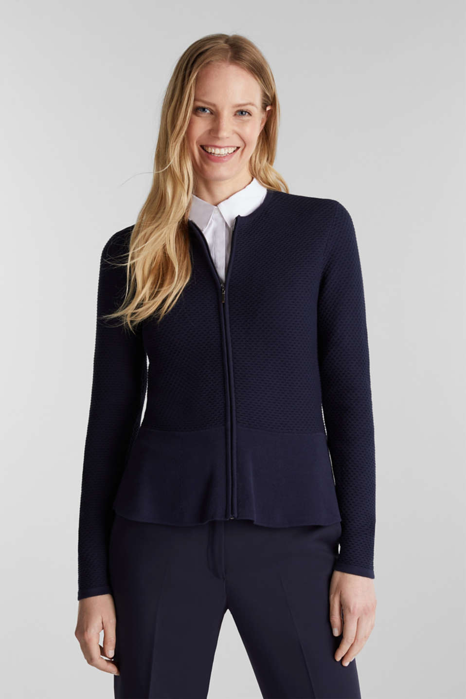 Textured cardigan with a peplum, NAVY, detail image number 0
