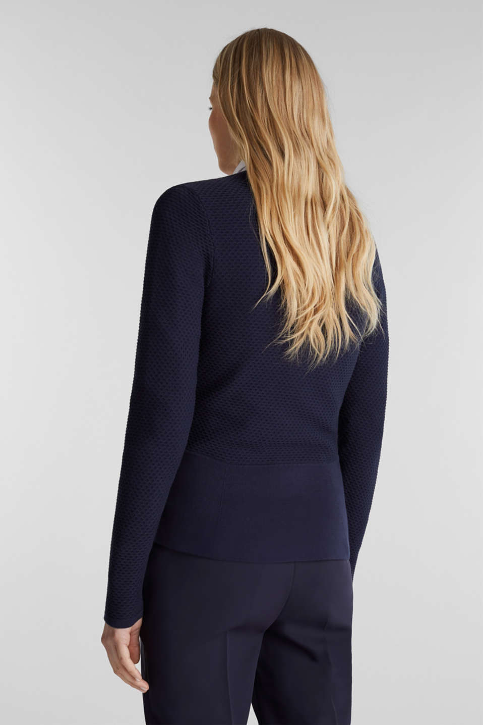 Textured cardigan with a peplum, NAVY, detail image number 3