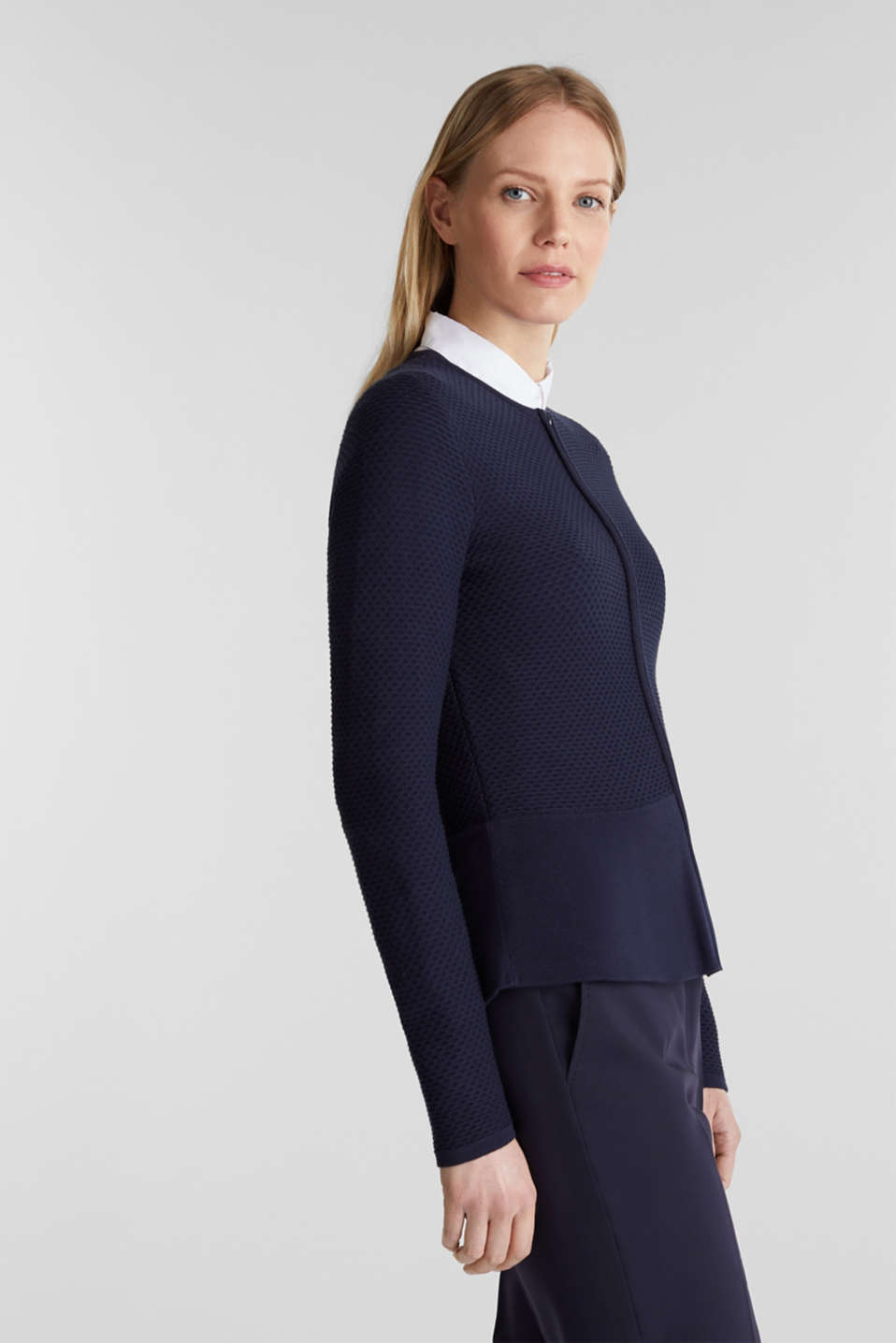 Textured cardigan with a peplum, NAVY, detail image number 5