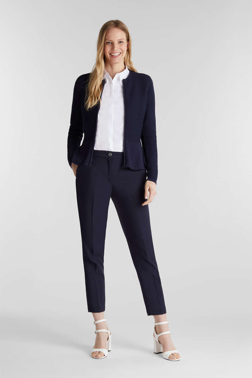 Textured cardigan with a peplum, NAVY, detail image number 1