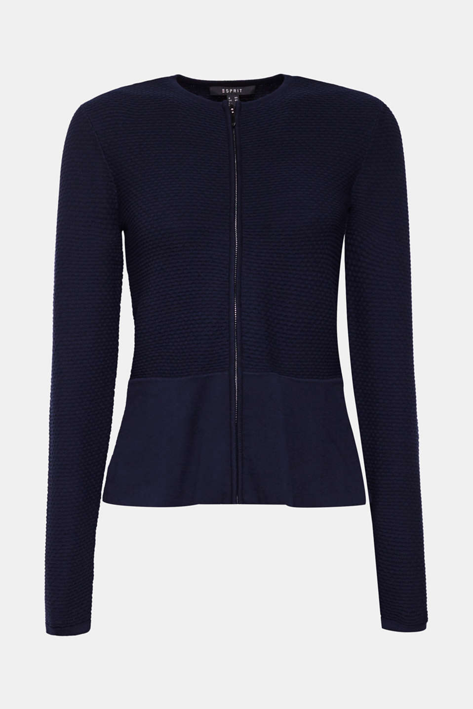Textured cardigan with a peplum, NAVY, detail image number 7