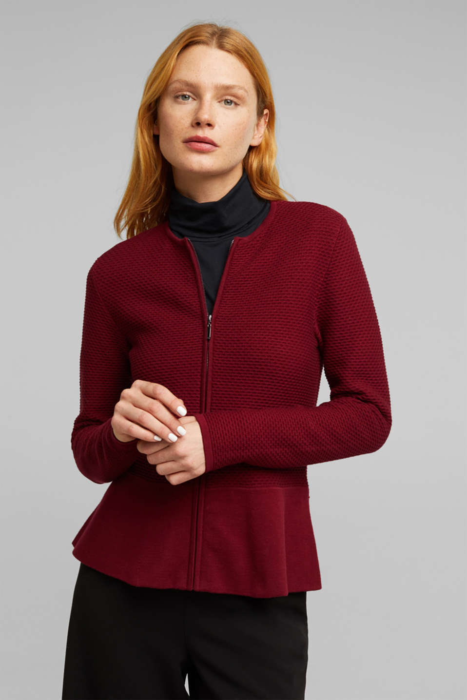 Esprit - Textured cardigan with a peplum