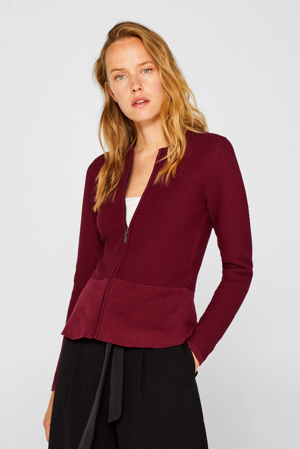 Textured cardigan with a peplum, GARNET RED, detail image number 0