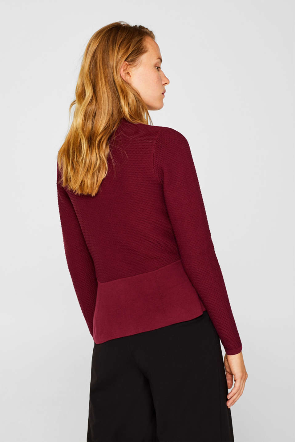 Textured cardigan with a peplum, GARNET RED, detail image number 3