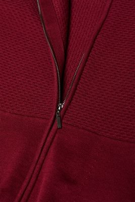 Textured cardigan with a peplum, GARNET RED, detail