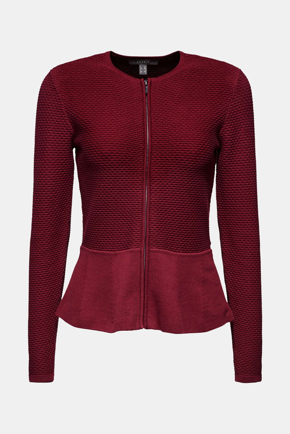 Textured cardigan with a peplum, GARNET RED, detail image number 5